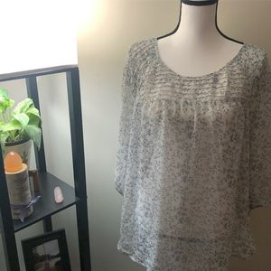 Lauren Conrad Sheer Floral Long Sleeve Shirt